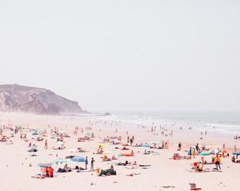 Beach Photograph, Landscape Photograph, Ocean Art print, Blue Art Print, Summer Print, Modern Fine Art,People beach photo,Summer House Decor