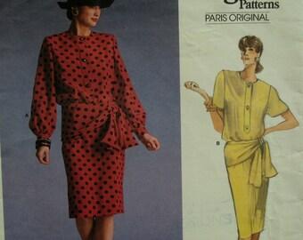 Givenchy Pullover Blouson Top Pattern, Jewel Neck, Peplum, Buttons, Long Sleeves, Straight Skirt, Vogue Paris Original No.1897 UNCUT Size 12