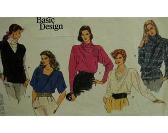 "V-Neck Blouse Pattern, Pullover, Cowl Neck, Sleeveless/ Short/ Long Sleeves, Vest, Vogue No. 1214 Size 6 Bust 30.5"" 78cm"