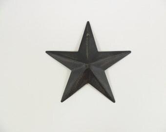 """6 Primitive Country Barn Stars Black / Brown Tin 3 1/2"""""""