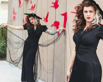 1930's I.Magnin Black Fringe Floor Length Gown Vintage Evening Gown Size Medium Large by Maeberry Vintage
