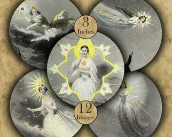 STAR FAIRIES 3 inch circles - 12 Digital Printable Images for Coasters & Crafts...Astronomy Fantasy by J.J. Grandville