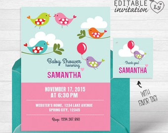 Baby Shower INSTANT DOWNLOAD Editable Invitation / Bird Invitation  / EDITABLE Baby Shower Invitation / Bird Party