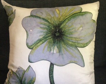 SERENE BLUES - Hand Painted Decorstive Silk Pillow