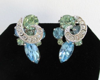 WEISS Earrings - Vintage Blue, Green & Colorless Stones, Clip On