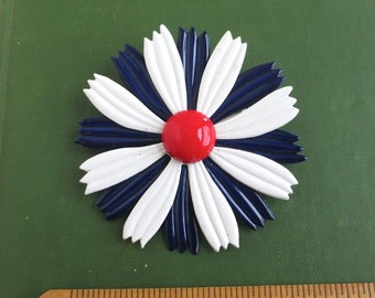 Enameled Metal Flower Brooch / Pin - Patriotic Red White & Blue