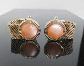 Vintage Cuff Links - Gold Mesh Chain Mail w/ Cabs - Anson
