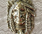 AWESOME Indian Head  Silver Pewter Pendant