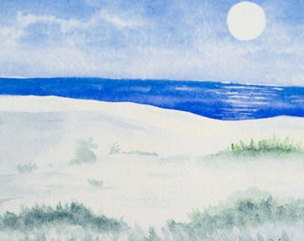 Seascape watercolor giclee print, already matted 8x10 inches, moonlight on water, beach cottage art home decor