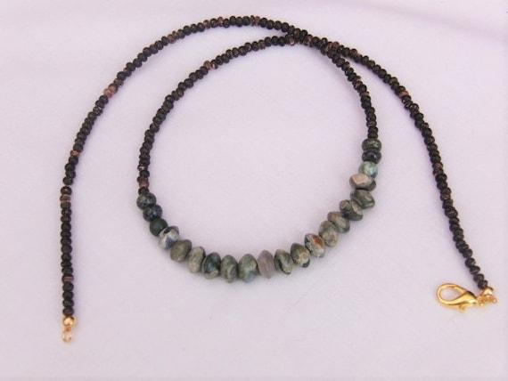 mens beaded jade and coconut fibre bead necklace mens