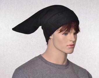 Black Stocking Cap Elf Hat Pointed Dwarf Cap Long Beanie Pointed
