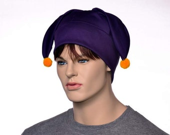 Three Point Jester Hat Royal Purple with Gold Pompoms 3 Tail Harlequin Fool Cap