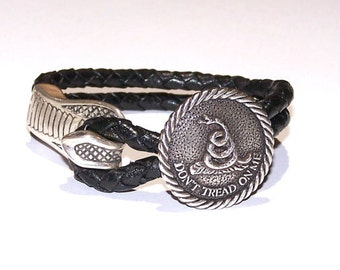 Don't Tread on Me Braided Black Leather Bracelet - Snake Bracelet - Black Braided Leather Bracelet - Second Amendment Rights - Liberty