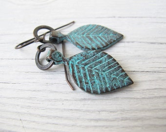 Bohemian Leaf Earrings, Green Patina, Green Leaves Earrings, Boho Chic, Festival Fashion, Mykonos Patina, Summer Style