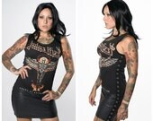 Judas Priest Faux Leather Dress with Eyelet Tape