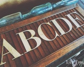RESERVED for Holly - Galvanized Metal Letters Bodini A - Z & 1 2 3 by Junk Love and Co