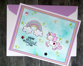 Unicorn Birthday Card - Happy Magical Birthday - For Her Best Friend Sister Mom Daughter - Handmade Paper Birthday Greeting Card