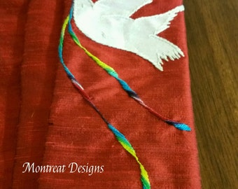 Dove with Rainbow Ribbon Liturgical Stole in Silk
