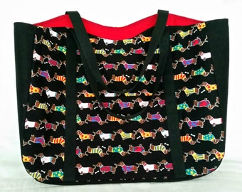 Tote Dachshunds In Sweaters on Black