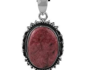 Rodonite Pendant, Oval Pendant, Silver Pendant, Pink Pendant, Natural Rodonite, Rodonite Necklace, Sterling Silver, Rodonite Jewelry