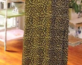 Vintage Maxi Dress/Animal Print/100% Rayon/Black and Gold/Fab Retro