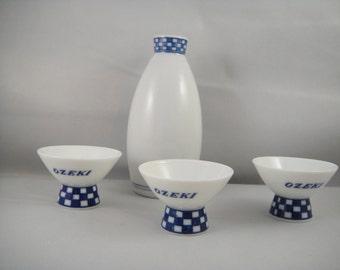 Ozeki Sake Set for hree Porcelain Made in Japan