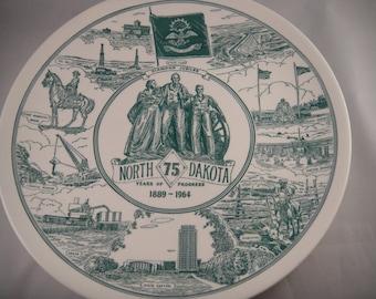 North Dakota Diamond Jubilee Commemorative Plate 1964