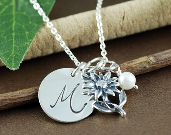 Personalized Bridesmaid Jewelry, Personalized Flower Girl Necklace, Initial Necklace, Bridal Jewelry, Bridesmaid Necklace
