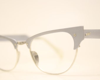 Unused Gray Aluminum Combination cat eye glasses  vintage cateye eyeglasses frames