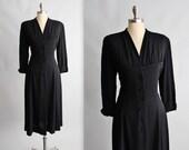 40's Dress // Vintage 1940's Black Rayon Casual Swing Day Dress L