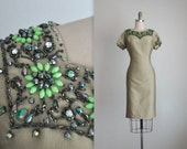 RESERVED 60's Cocktail Dress // Vintage 1960's Beaded Shantung Cocktail Party Dress