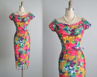 RESERVED 50's Draped Floral Dress // Vintage 1950's Vibrant Floral Print Cotton Cocktail Party Wiggle Dress S