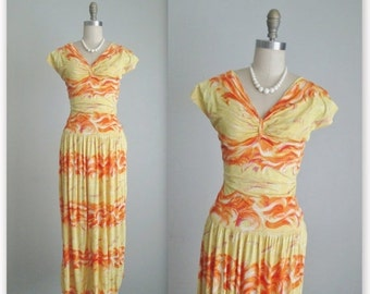 STOREWIDE SALE 40's Dress // Vintage 1940's Vibrant Abstract Print Jersey Knit Summer Dress XS