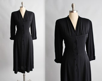 40's Dress // Vintage 1940's Black Rayon Casual Swing Day Dress L