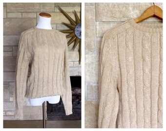 Vintage Boyfriend Sweater * Cable Knit Jumper * Size Small