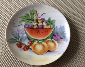 Vintage hand painted fruit plate