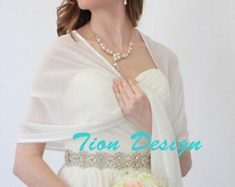 Chiffon Bridal Wrap Wedding Stole Evening Shawl Chiffon Shrug - Ivory 8139CH on Spring Sale
