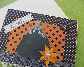 Marie Antoinette Halloween Card - Blank Greeting - Orange Black