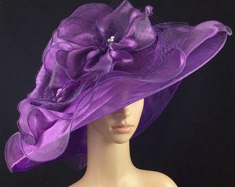 Womens Kentucky Derby Hat,Purple Derby Hat,Dress Hat , Wedding Hat Wide Brim Hat Tea Party Hat Ascot