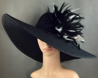 Black Kentucky Derby Hat with Black and White feathers, Derby Hat, Dressy Hat ,Formal Hat, Wedding Hat,Special Occasion