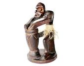 Tribal decor, African decor, Figurine, Hand Carved figurine, Sculpture, African Man Drum, Collectible, Art Collectibles, Vintage Figurine,