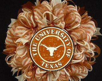 SUMMER SALE - College Teams, Texas Longhorns, Poly Mesh Wreath, College Football, Mesh Supplies (1093)
