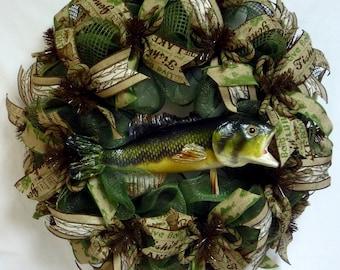 Fishing Wreath, Hunting Wreath, Cabin Wreath, Lake House Fishing Wreath