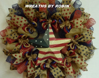 Patriotic Rustic Burlap Star Wreath, Burlap Deco Mesh Wreath (2044)