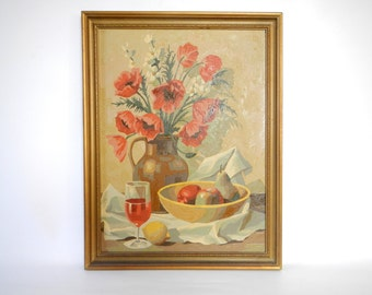 Vintage Mid Century 1950s/60s Paint By Numbers Painting of Poppies, Wine and Fruit Bowl