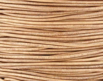 Leather-1mm Round Cord-Soft-Natural-50 Meter Spool