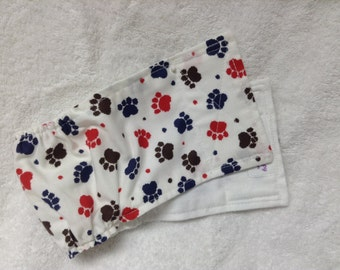 Male Dog Belly Band Diaper Pet Panties Doggie Wrap Pants Red Navy Brown Paw Prints Custom Sizes To 30 Inches