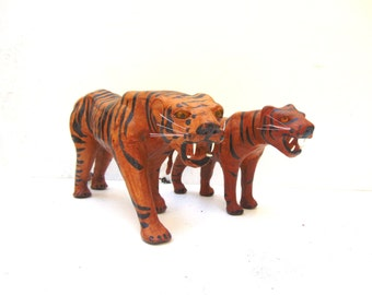 Mid Century Leather Wrapped Tigers, Vintage Glass Eye Tiger, Mid Century Home Decor