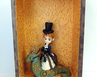 Steampunk Book Nerd - Prince Terrence and Crenshaw - ORIGINAL OOAK Miniature Sculpture - Surface Decor