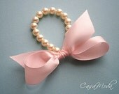 Bridesmaids Gifts Pearl And Ribbon Bracelet With White Swarovski Crystal Pearls And Light Yellow Bow